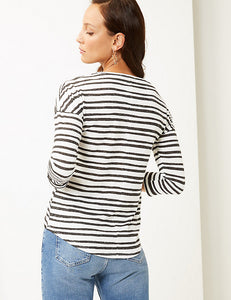 Ex Marks And Spencer Collection Striped Round Neck 3/4 Sleeve T-Shirt