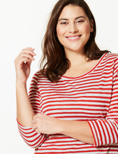 Ex Marks And Spencer Collection CurveCURVE Striped Round Neck 3/4 Sleeve T-Shirt