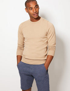 Ex Marks And Spencer Collection Mens Pure Fine Cotton Crew Neck Jumper