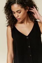 Ex Wallis Black / Rust Button Through Sleeveless Cami Top