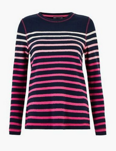 Ex Marks And Spencer Pure Cotton Striped Long Sleeve Top