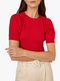 Short Sleeve Red Stitched Puff Sleeves Knitted Top