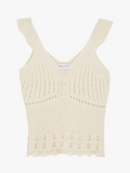 Ruffle Shoulder Pointelle Knitted Vest Top Ecru