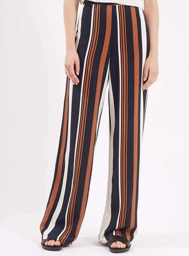 Ex Topshop Ladies Brown Navy Stripe Wide Leg Trousers