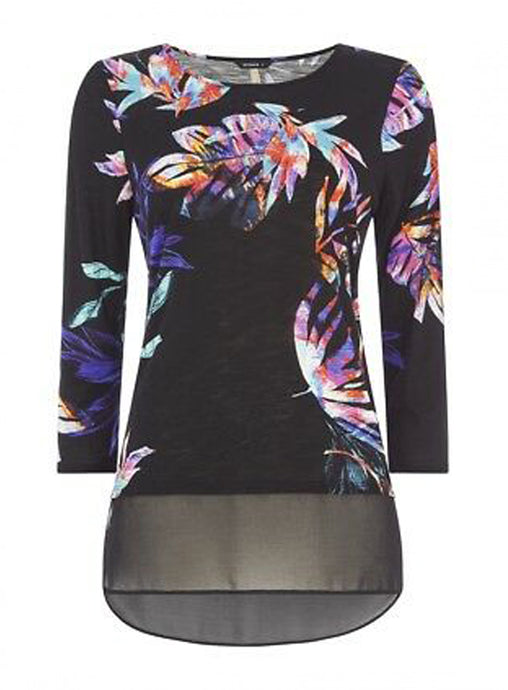 Ex Roman Originals 3/4 Sleeve Tropical Palm Print Top Blouse
