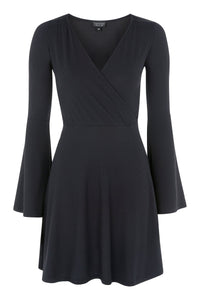Ex Topshop Black Trumpet Sleeve Ribbed Jersey Wrap Dress