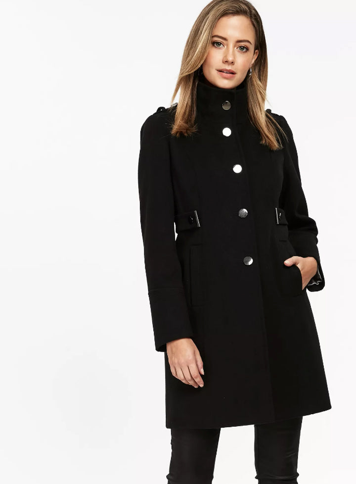 Ex Wallis Petite Black Funnel Neck Fitted Coat