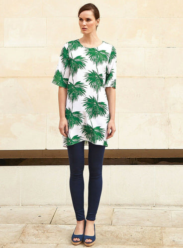 Ex White Stuff Tropical Palm Print Green & White Tunic Dress