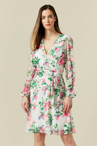 Ex Wallis White Floral Print Tie Front Dress