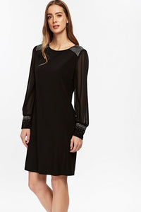 Ex Wallis Black Long Sleeve Embellished Swing Dress Size 8-20
