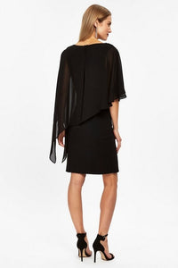 Ex Wallis Black Round Neck Embellished Overlay Dress