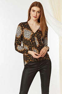 Ex Wallis Black Animal and Chain Print Shirt Blouse