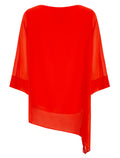 Ex Wallis Layered Relaxed Asymmetric Hem Overlay Blouse Top