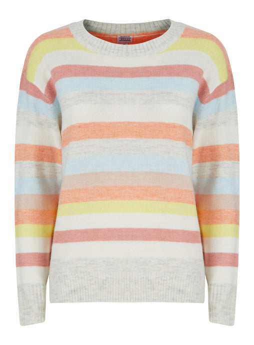 Ladies Stripe Coloured Knitwear Cozy Jumper