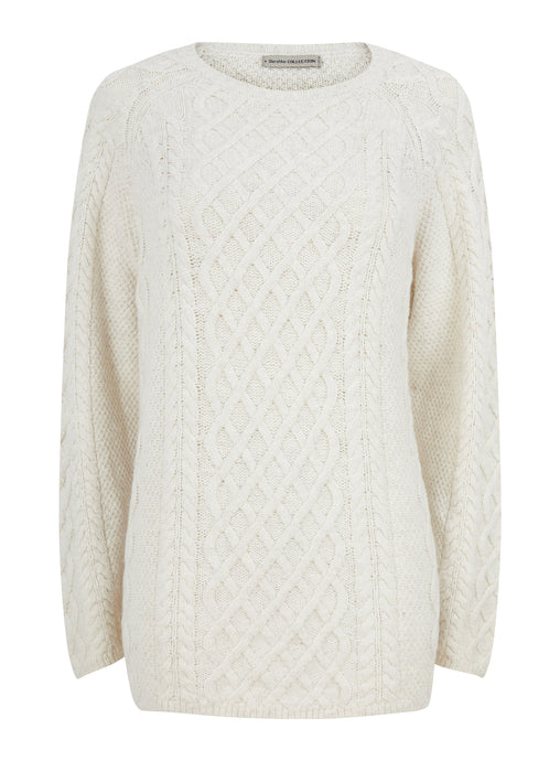 Ex Bershka Ladies Cable Jumper Knitwear Cream