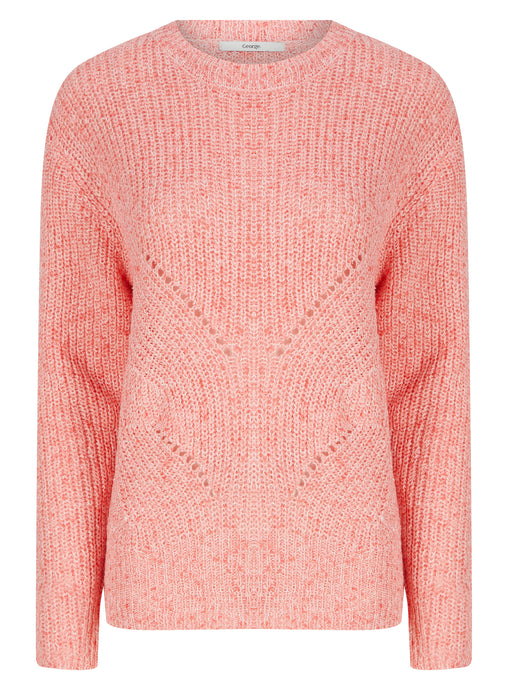 Ladies Pink Long Sleeve Cable Knitwear Cozy Jumper