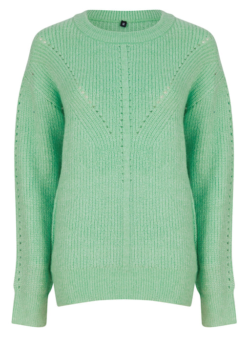 Ladies Green Long Sleeve Cable Knitwear Cozy Jumper