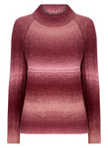 Ladies Stripe Pink Knitwear Cozy Turtle Neck Jumper