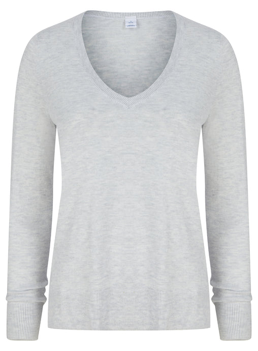 Ex GAP Ladies V Neck Grey Jumper Knitwear