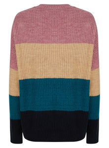 Ladies Clockhouse Striped Block Cozy Ribbed Jumper