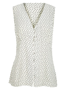 Ex Highstreet Store Sleeveless Crepe Button Biouse Top