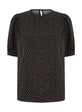 Ex Highstreet Short Gathered Sleeve Spot Print Top