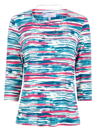 Honor Milburn Stripe Jersey Top With Necklace