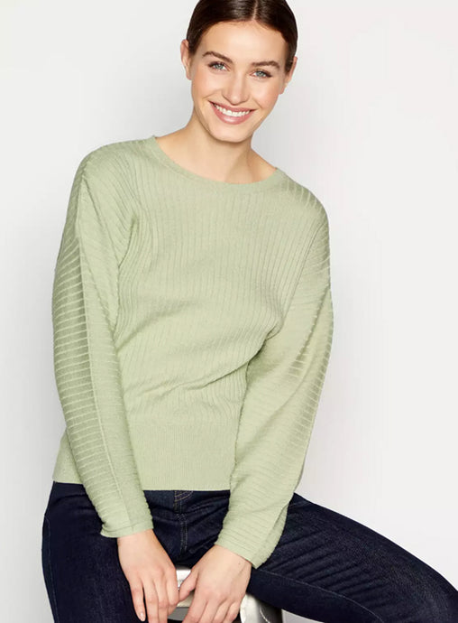 Ex Debenhams Principles Green Ribbed Dolman Jumper Plus Size