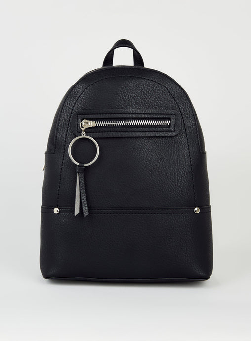 Ex Chainstore Ladies Black White Ring Zip Utility Mini Backpack