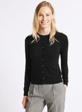 Ex Marks And Spencer Collection Black Round Neck Cardigan