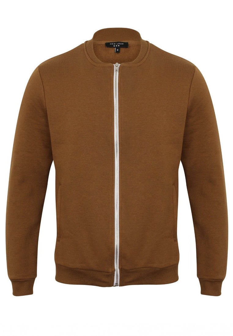 Ex New Look Mens Brown Long Sleeve Crewneck Sweat Zip Up