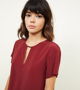 Ex Chainstore Burgundy Metal Trim Choker Neck Sleeveless Top
