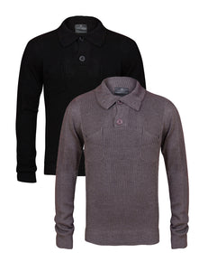 Mens Black Button Up Collared Neck Knitwear Jumper Black / Grey