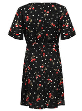 Ladies Short Sleeve Cherry Polka Dot Skater Dress