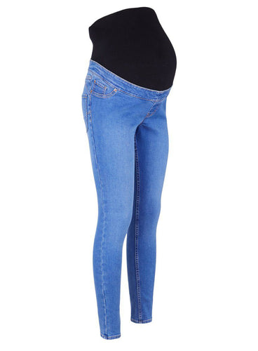 Ex Chainstore Maternity Over Bump Bright Blue Lift & Shape Jeggings Jeans