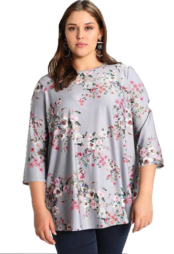 Ex Dorothy Perkins Curve Floral Printed Long Sleeved Top Blouse Silver