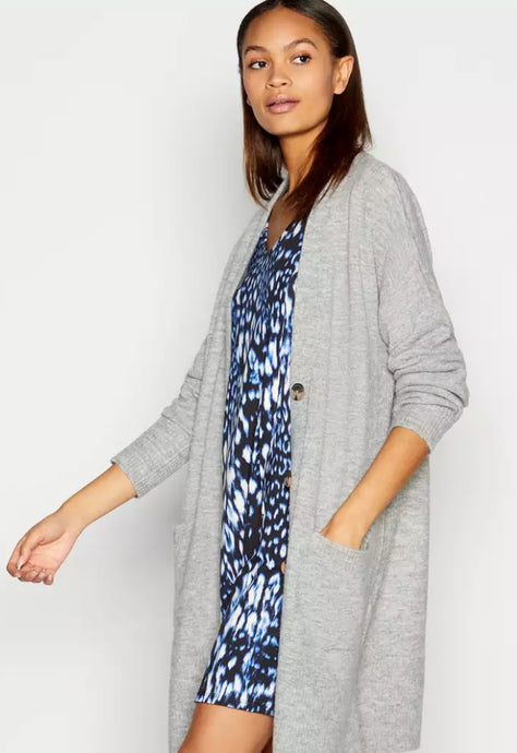Ex Principles Debenhams Grey / Navy Long Boyfriend Cardigan