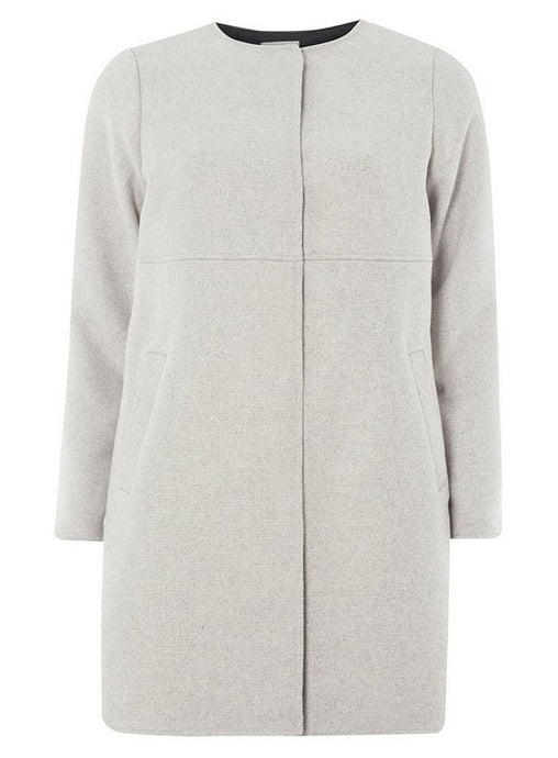 Ex Dorothy Perkins Grey Collarless Coat