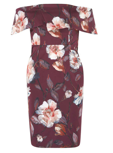 Ex Dorothy Perkins Petite Wine Floral Print Bardot Pencil Dress