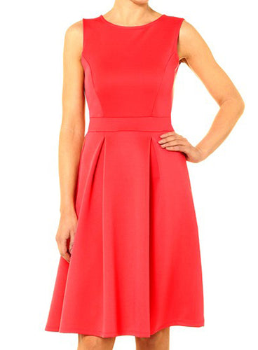 Ex Dorothy Perkins Coral Scuba Fit & Flare 50s Skater Dress