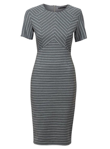 Ex Dunnes Store Short Sleeve Grey Striped Pencil Dress