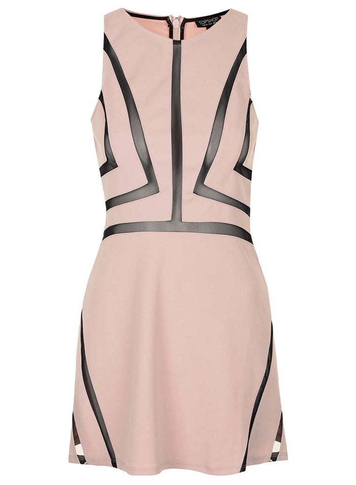 Ex Topshop Dusty Pink Black Mesh Contrast Sleeveless Skater Dress