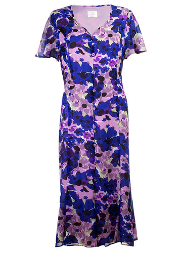 Ex Eastex Short Sleeve Purple/Blue Floral Print Long Dress