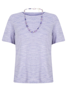 Honor Milburn Short Sleeve Lilac Top With Necklace