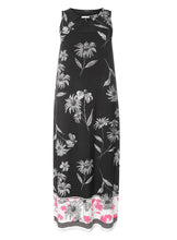 Ex Evans Black White Pink Sleeveless Floral Trim Neck Maxi Dress Plus Size