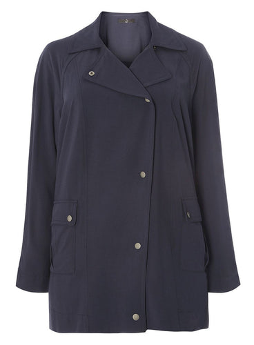Ex Evans Plus Size Navy Blue Soft Jacket Coat Mac