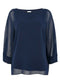 Ex Wallis Navy Blue Overlay Blouse Top
