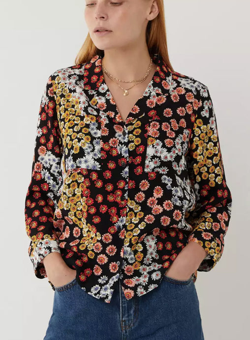 Ex Warehouse Multicoloured Mixed Daisy Pyjama Style Shirt