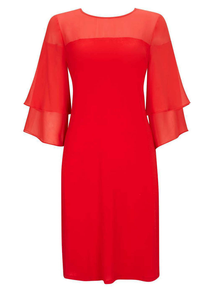 Ex Wallis Red Flute Sleeve Shift Chiffon Party Dress