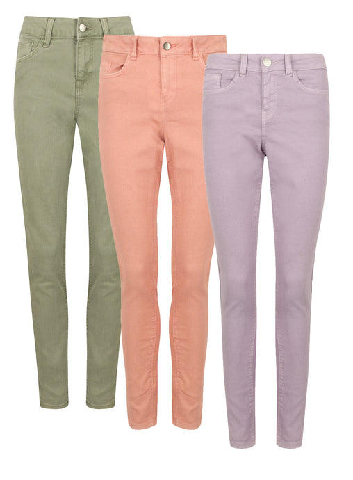 Ladies Cotton Rich Pastel Skinny Fit Jeans